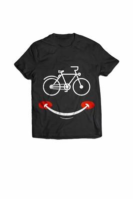 BikeStyle Tshirt Özel Tasarım Gülen Yüz -Siyah - Thumbnail
