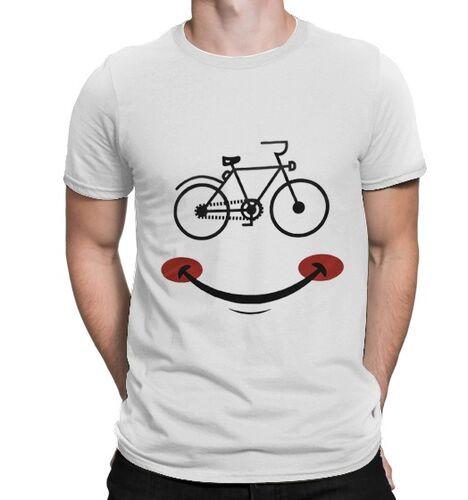 BikeStyle - BikeStyle Tshirt Özel Tasarım Gülen Yüz -Beyaz